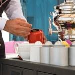 Waiter preparing tea — Stock Photo #61863093