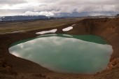 Krafla caldera volcano with water — Stock Photo