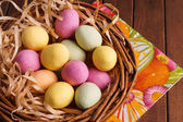 Easter Egg in Basket — Stock Photo