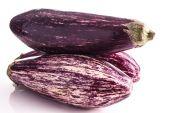 Striped healthy eggplants — Stock Photo