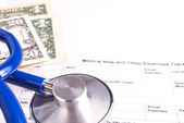Medical Bill Statement with Stethoscope and Money — Stock Photo