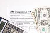Tax form and Money — Stock Photo