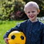 Preschool Child with Soccer ball — Stock Photo #72118587