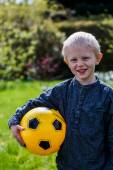 Preschool Child with Soccer ball — Stock Photo