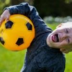 Preschool Child with Soccer ball — Stock Photo #72731099