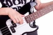 Eller bir gencin gitar çalış — Stok fotoğraf