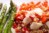 Vegetarian buckwheat risotto with red Bell peppers — Stock Photo