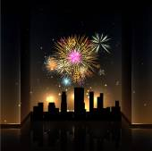 Fireworks over Night City — Stock Vector
