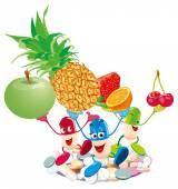 Frutas y bayas — Vector de stock