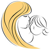 Young mother hugging her baby with care and love — Stock Vector