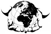 Hand holding a globe — Stock Vector