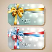 Collection of gift cards with ribbons — Stock Vector