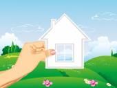 Ręka trzyma ikona dom przyszłego budynku — Wektor stockowy