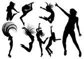 Silhouettes de fille de danse — Vecteur
