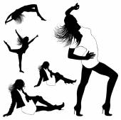 Dancing girl silhouettes — Stock Vector