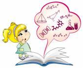 Myšlení dívka — Stock vektor