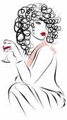 Mode pour belle femme boit du vin — Vecteur