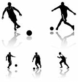 High quality detailed soccer football player silhouette — Stock Vector