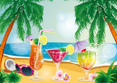 Tropical island cocktail — Stock Vector