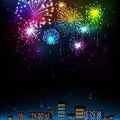 Fireworks Display over the Night City, — Stock Vector