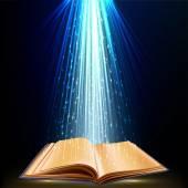 Libro con luz mágica — Vector de stock