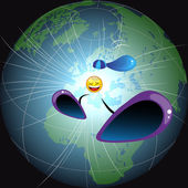 Emoticon falls to Earth — Stock Vector