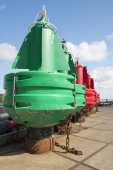 Colored navigation buoys — Stock Photo