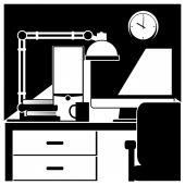Desktop workstation black and white — Stock Vector