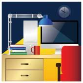 Desktop workstation colorful — Stock Vector