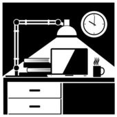 Workplace black and white — Stock Vector