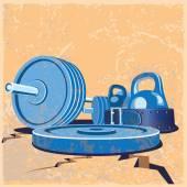 Old school gym — Stock Vector