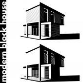 Modern block house — Stock Vector