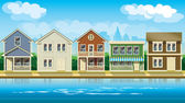 Houses suburb — Stock Vector