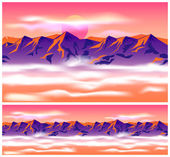 Mountain peaks in the clouds — Stock Vector