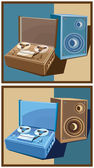 Old reel tape recorder set — Stock Vector