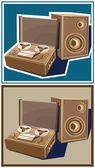 Old reel tape recorder — Stock Vector