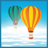 Air balloons in the clouds — Stock Vector