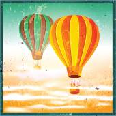 Old poster with air balloons — Stock Vector