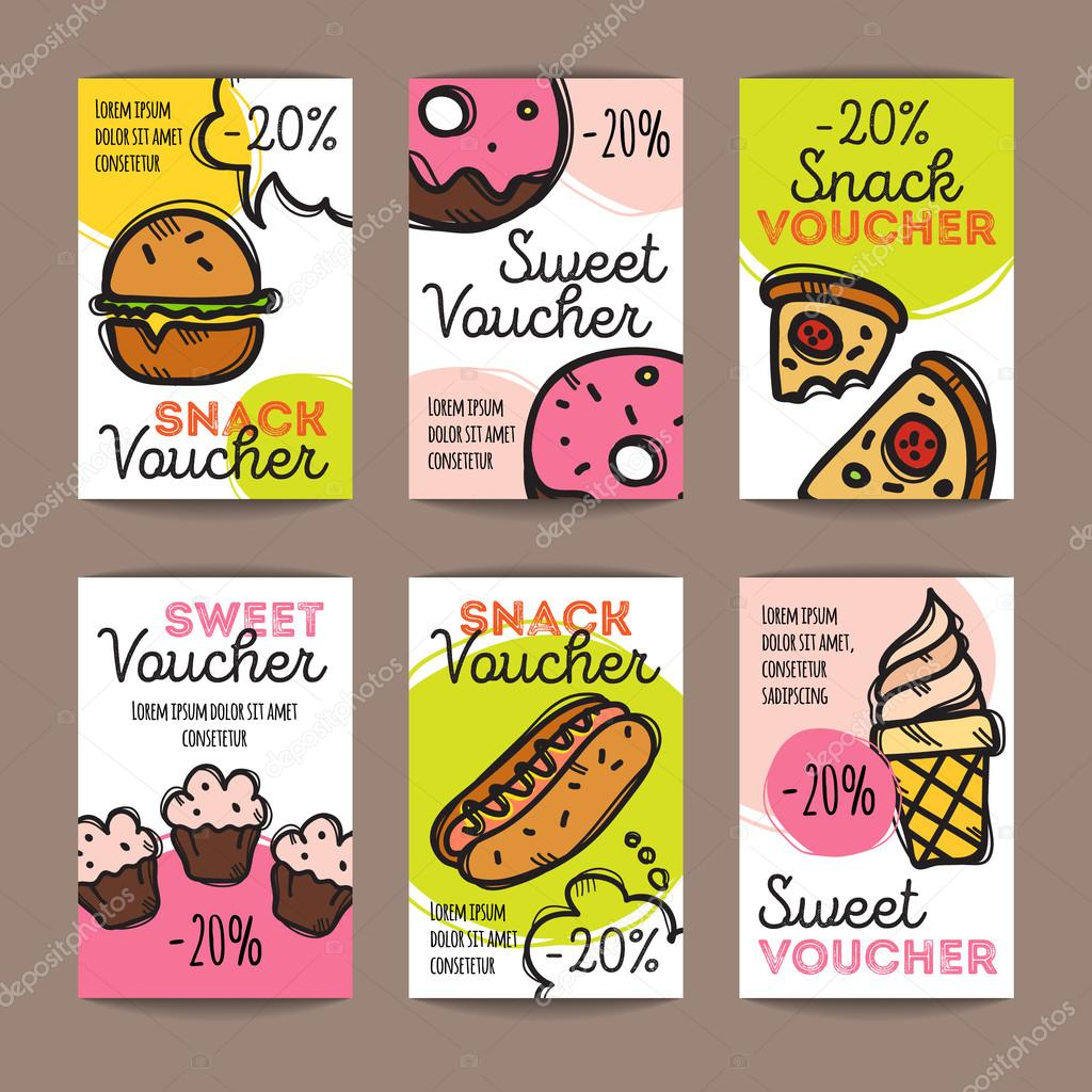 vector set of discount coupons for fast food and desserts vector set of discount coupons for fast food and desserts colorful doodle discount voucher templates snack promo offer cards vector by stacy t