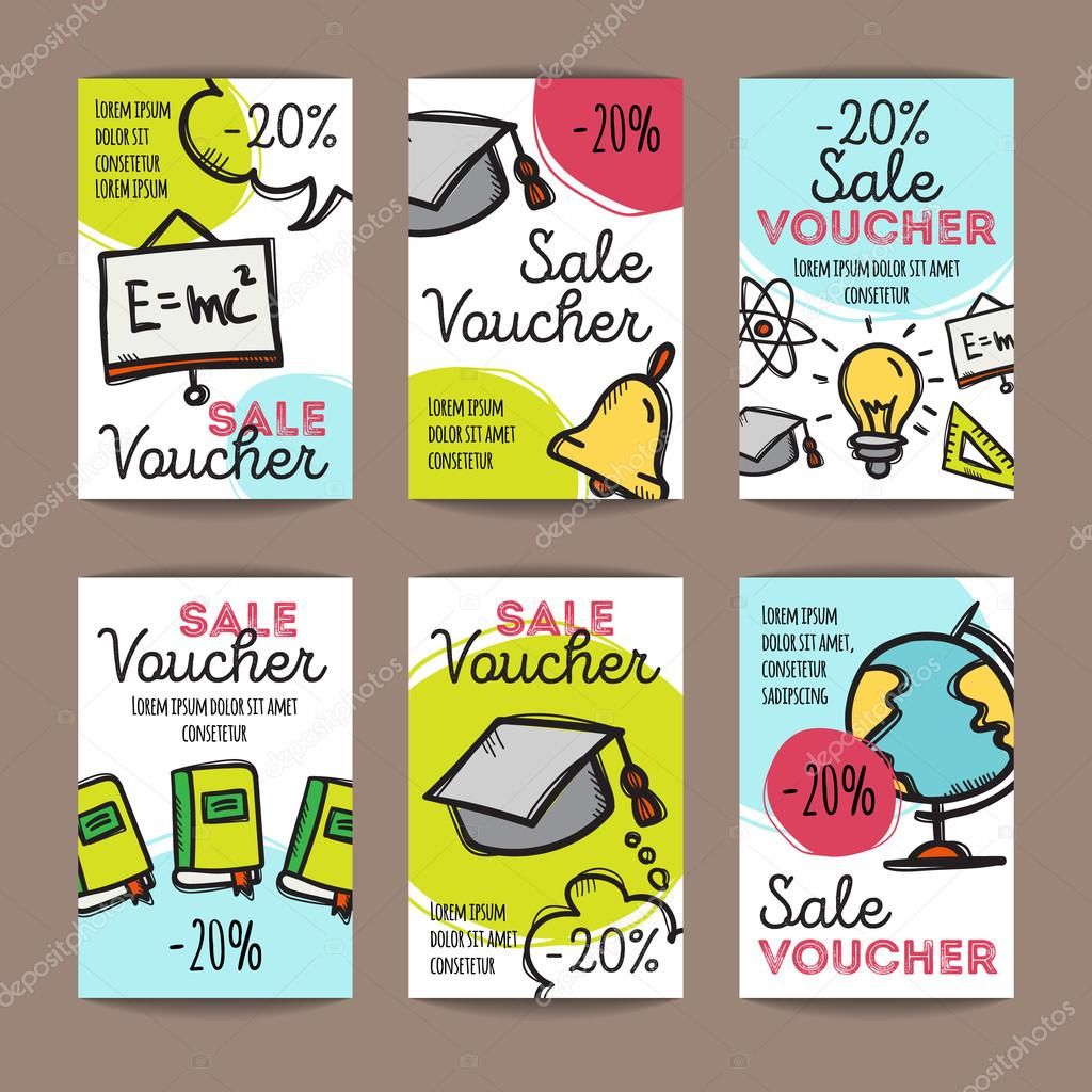 vector set of discount coupons for stationary accessories vector set of discount coupons for stationary accessories colorful doodle style voucher templates back