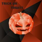 Vector halloween poster with scary pumpkin head in polygonal style — Stock Vector