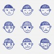 Постер, плакат: Vector hand drawn doodle emoticons set Boys head emotions sketch