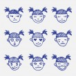 Vector hand drawn doodle emoticons set. Girls head emotions sketch — Stock Vector #54764929
