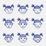 ������, ������: Vector hand drawn doodle emoticons set Girls head emotions sketch