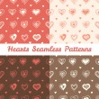 Vector soft hand drawn doodle hearts St Valentine Day seamless patterns set — Stock Vector #54765875