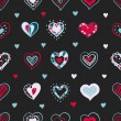 Vector bright hand drawn doodle hearts St Valentine Day seamless pattern — Stock Vector #54765879