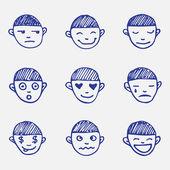 Ręka wektor doodle zestaw emotikonów. chłopcy głowy emocje szkic — Wektor stockowy
