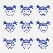 Vector hand drawn doodle emoticons set. Girls head emotions sketch — Stock Vector