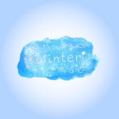 Vector watercolor winter poster with hand drawn text — Stock Vector