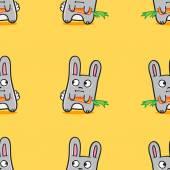 Vector funny cartoon bunnies seamless pattern — Stock Vector